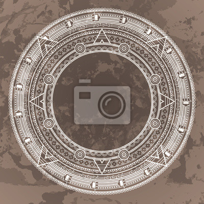 Calendario Azteca Vectores.Vinilo Vector Patron Circular En El Estilo De La Piedra Calendario Azteca