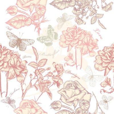 Vinilo Vector patrón de papel tapiz sin fisuras con las rosas