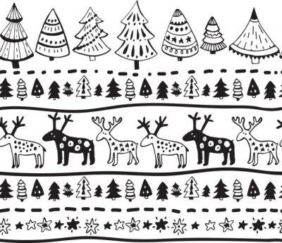 Vinilo Vector patrón sin fisuras con elementos dibujados a mano de Navidad