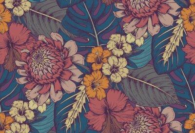 Vinilo Vector patrón transparente con composiciones de flores tropicales dibujadas a mano