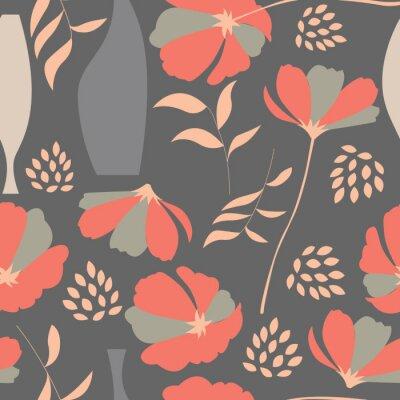 Vinilo Vector patrón transparente con elementos florales, flores de primavera, po