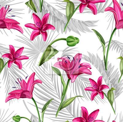 Vinilo Vector realista flor de lirio rosa hojas tallo conjunto