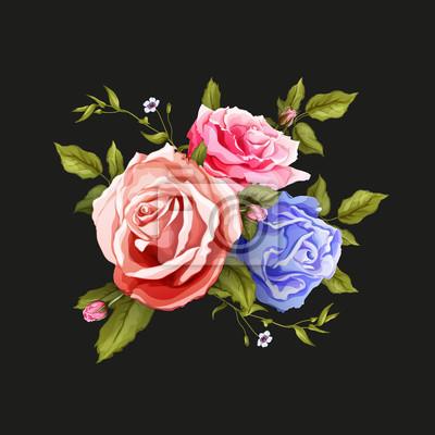 Vinilo Vector realistic rose bouquet leaves pattern