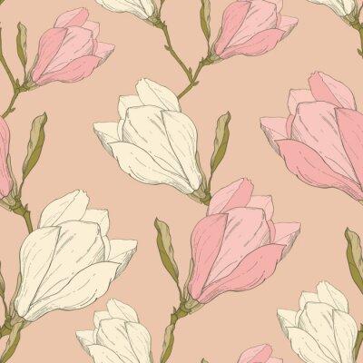 Vinilo Vector Rosa Magnolia Vintage Tela De Flores Retro Repetir Patrón Sin Seta Dibujado En Estilo Botánico. Perfecto para la tela, Papel pintado, Embalaje, Fondos, Tarjetas de felicitación.