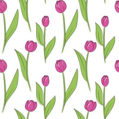 Vinilo Vector rosa tulipán simple flores de patrones sin fisuras