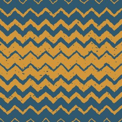 Vinilo Vector Seamless Blue Yellow Color Dibujado a mano Horizontal Gradiente Halftone ZigZag Distorsionado líneas Grungy patrón étnico