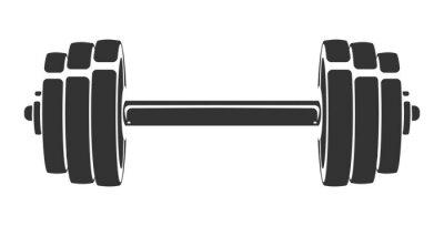 Vinilo Vector silueta dibujada a mano de pesa aislado sobre fondo blanco. Plantilla para icono deportivo, símbolo, logotipo u otra marca. Ilustración retro moderna