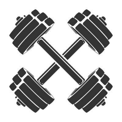Vinilo Vector silueta dibujada a mano de pesas cruzadas aisladas sobre fondo blanco. Plantilla para icono deportivo, símbolo, logotipo u otra marca. Ilustración retro moderna