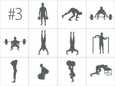 Vinilo Vector siluetas de personas haciendo ejercicios de fitness y crossfit