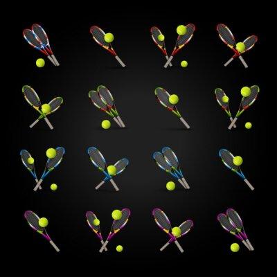 Vinilo Vector símbolos de tenis como elementos de diseño, pelotas de tenis, tenis r