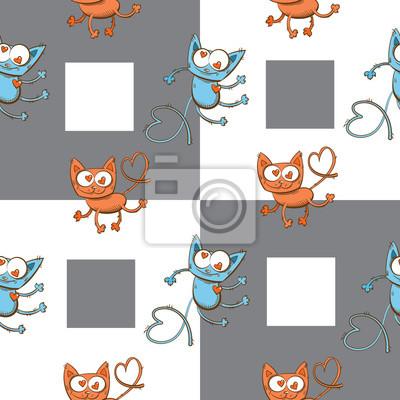 Vector sin patrón con los gatos de dibujos animados de color vinilos ...