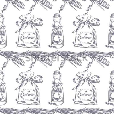 Vinilo Vector sin patrón. Tema lavanda de Provenza. Patrón con bolsita de lavanda gráfica y aceite. Ilustración digital dibujada en color lila. Patrón vintage de elementos de lavanda aislado en blanco.