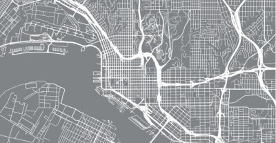 Vinilo Vector urbano mapa de la ciudad de San Diego, California, Estados Unidos de América