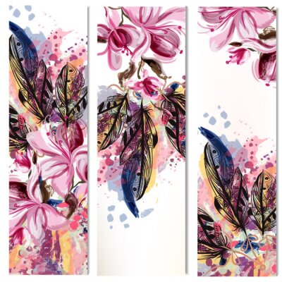 Vinilo Vector vertical folletos conjunto con magnolia flores y plumas