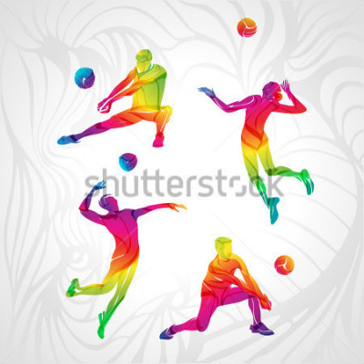 Vinilo Vector volleyball silhouettes rainbow collection