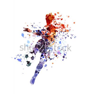 Vinilo Vector watercolor silhouette soccer player