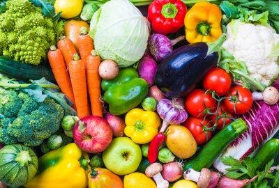 Vinilo Vegetables and fruits background.