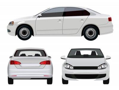 Vinilo Vehículo blanco - Sedan coche desde tres ángulos