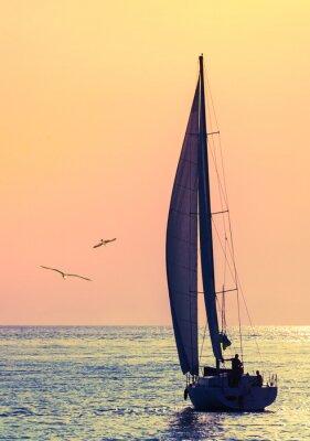 Vinilo velero horizonte y dos gaviotas