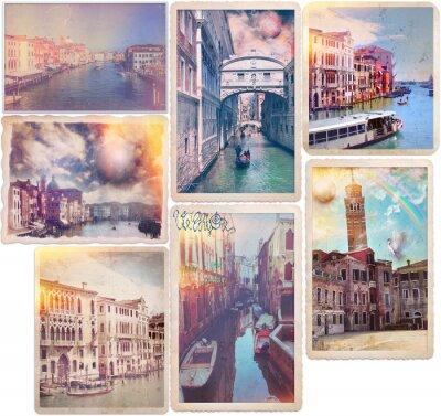 Vinilo Venecia - pasadas de moda tarjetas postales collage