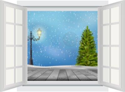 Vinilo Ventana abierta del árbol de Navidad y poste de la lámpara en fondo del invierno