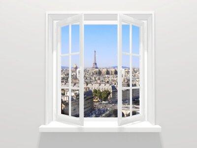 Vinilo Ventana abierta y vista sobre la torre Eiffel, París
