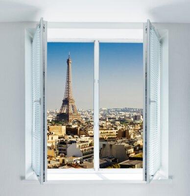 Vinilo Ventana con torre Eiffel y vista de tejados