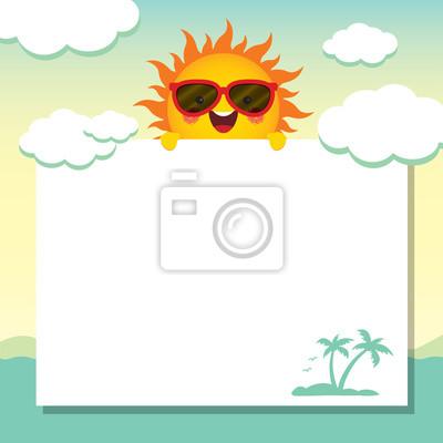 Verano Ilustración Vectorial Diseño De Papel De Nota Con El Sol