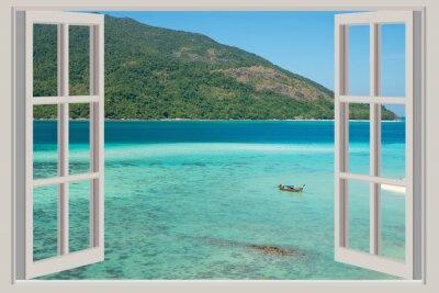 Vinilo Verano, viajes, vacaciones y concepto de vacaciones - La ventana abierta,