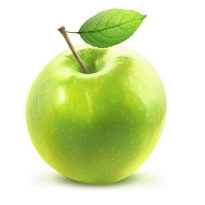 Vinilo Verde manzana y leafe aislado con trazado de recorte