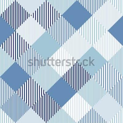 Vinilo Verificador simple abstracto azul y blanco a rayas de patrones sin fisuras geométricas, vector
