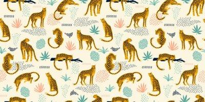 Vinilo Vestidos de patrones sin fisuras con leopardos y hojas tropicales.