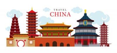 Vinilo Viajes China Edificio y Ciudad, Destino, Atraccion, Cultura Tradicional