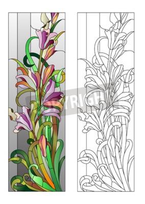 Vinilo Vidriera de colores con patrón floral púrpura