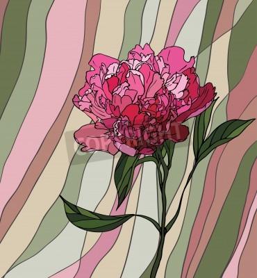 Vinilo Vidrio multicolor manchada con motivos florales, una peonía sobre un fondo de rayas multicolores