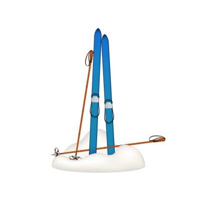 Vinilo Viejos esquís de madera y antiguos bastones de esquí de pie en la nieve
