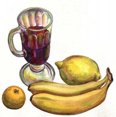 Vinilo Vino caliente, plátanos, limón y mandarín. Pintura de acuarela