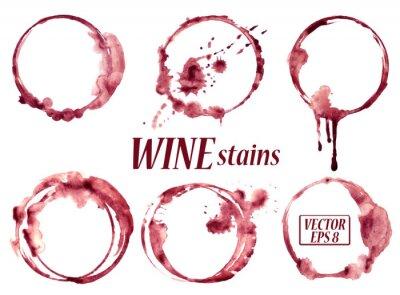 Vinilo Vino de la acuarela mancha iconos