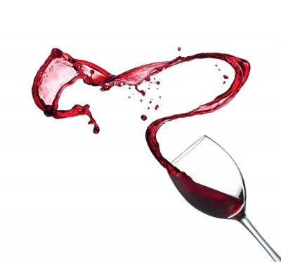 Vinilo Vino rojo que salpica en vidrio, aislado en fondo blanco
