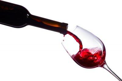 Vinilo Vino rojo sobre fondo blanco