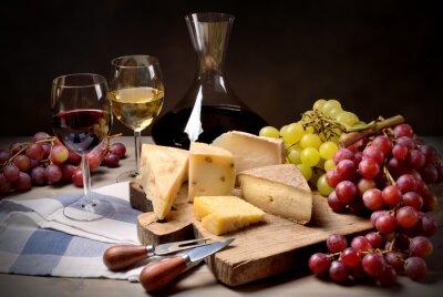 Vinilo Vino, uvas y queso