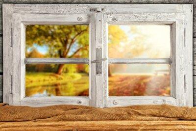 Vinilo Vintage árboles de otoño overlook ventana de madera