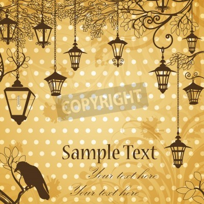Vinilo Vintage background with tree branches and retro street lamps