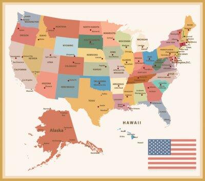 Vinilo Vintage Color Mapa político de los EE.UU.