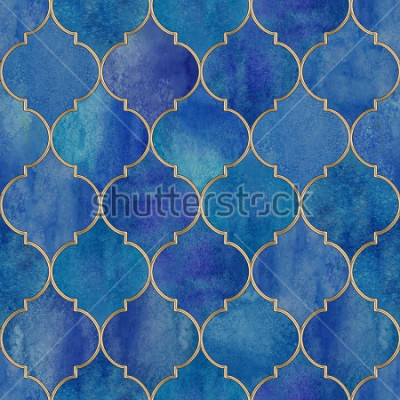 Vinilo Vintage decorative moroccan seamless pattern with glittering line. Watercolor hand drawn blue purple stained-glass window design. Watercolour oriental elements. Print for textile, wallpaper, wrapping.