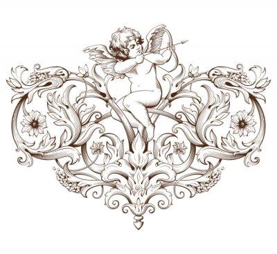 Vinilo Vintage decorativo elemento grabado con patrón de adorno barroco y Cupido