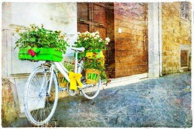 Vinilo Vintage floral bike - decoración de calle con encanto