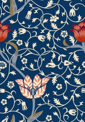 Vinilo Vintage floral de patrones sin fisuras en el fondo oscuro. Ilustración vectorial