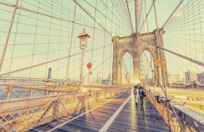 Vinilo Vintage foto del puente de Brooklyn en Nueva York