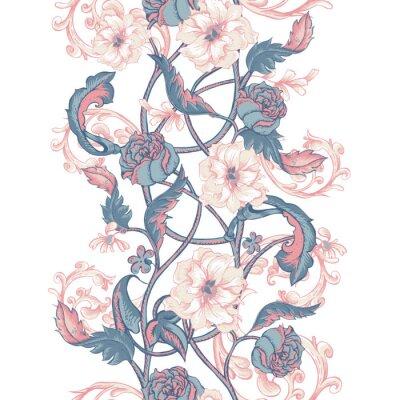 Vinilo Vintage frontera sin fisuras con flores de magnolias, rosas y ramitas